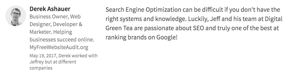 Digital Green Tea Testimonial Derek Ashauer