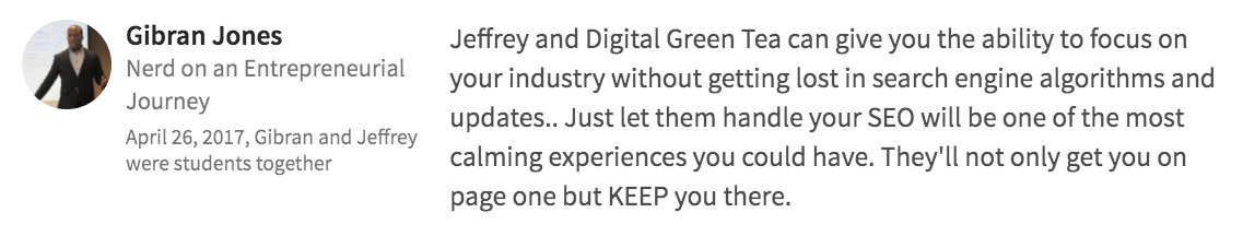 Digital Green Tea Testimonial Gibran Jones