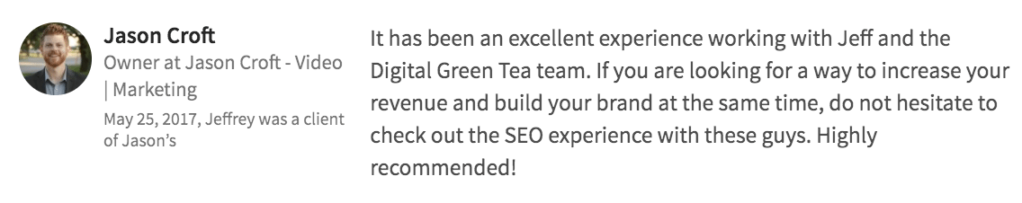 Digital Green Tea Testimonial Jason Croft