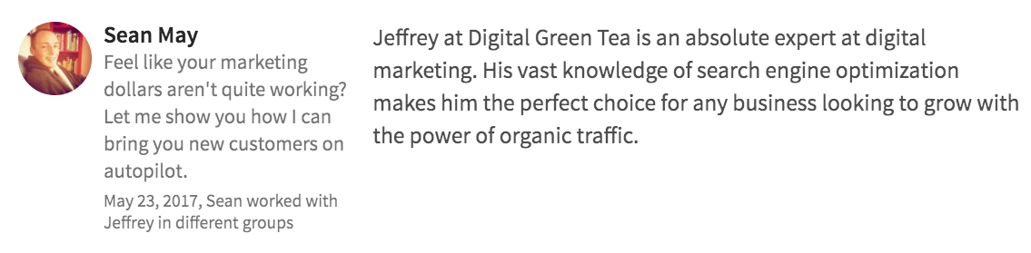 Digital Green Tea Testimonial Sean May