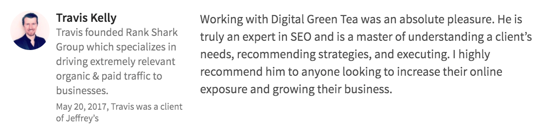Digital Green Tea Testimonial Travis Kelly